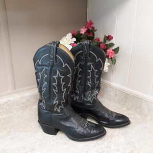 Black Tony Lama Western Boots Mens 6 Womans 8